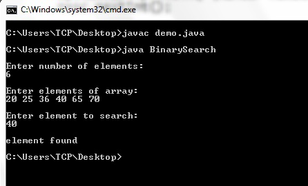 Program for Binary Search in Java