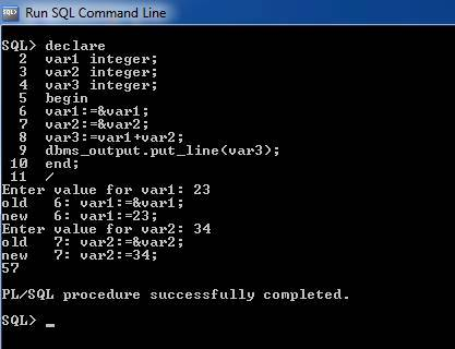 PL/SQL Program To Add Two Numbers