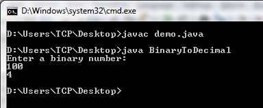 Program to Convert Binary to Decimal in Java