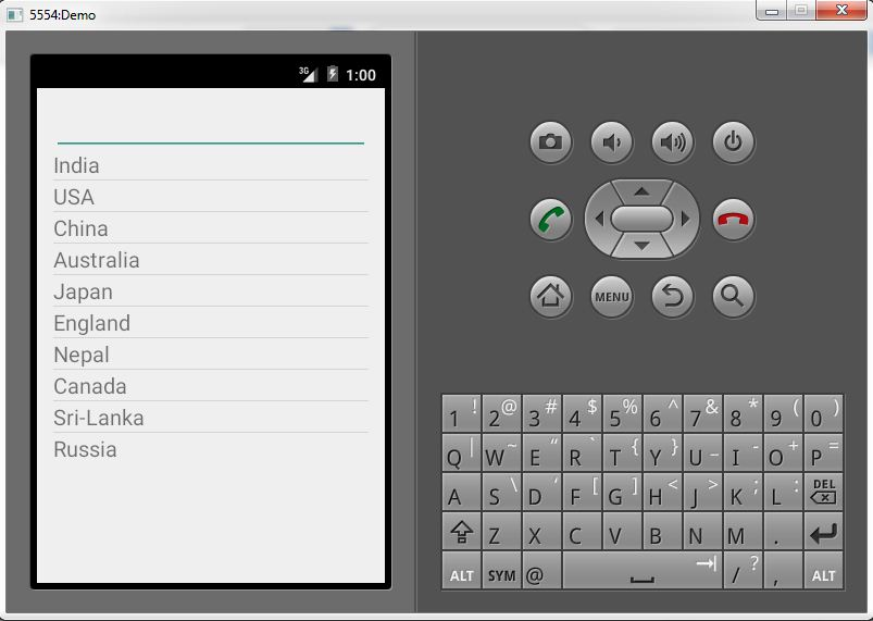 Android Simple ListView with Search Functionality Example 1