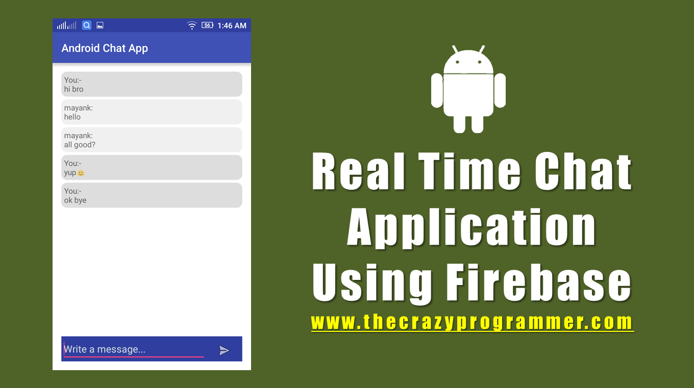 Android Real Time Chat Application Using Firebase Tutorial 1