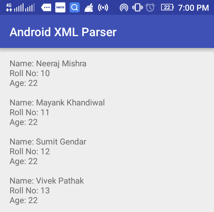 Android XML Parsing Using XMLPullParser