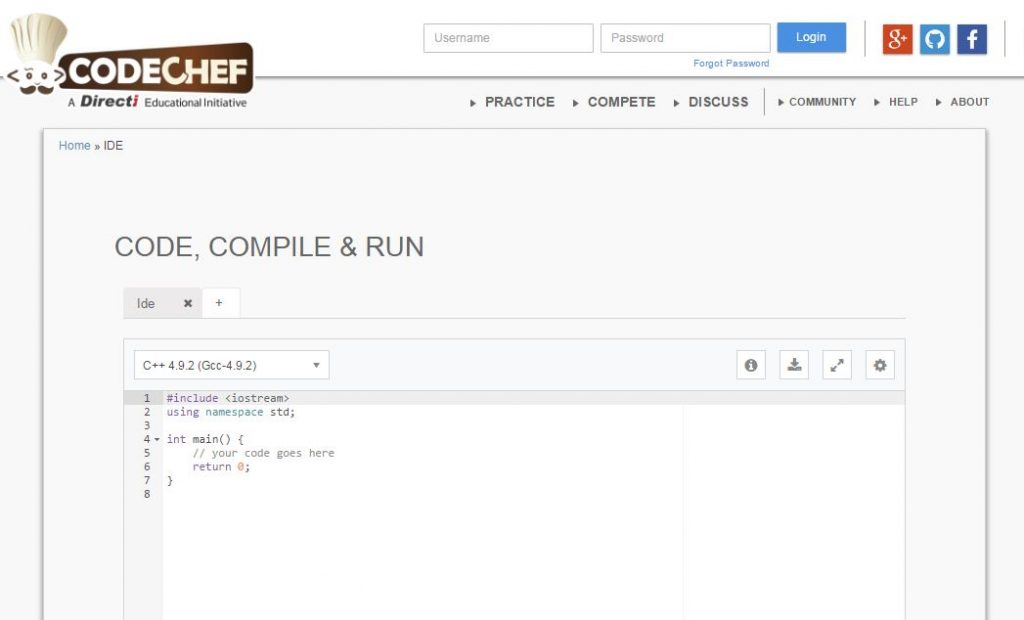 online c compiler and run