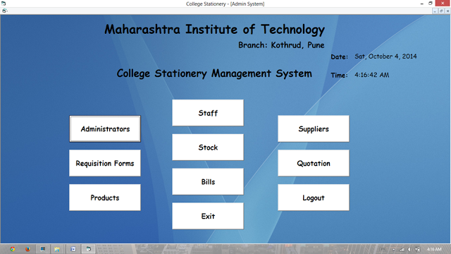 VB.NET Project On College Stationery Management System