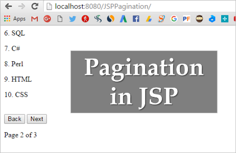 JSP Pagination Example Using jQuery, AJAX, JSON and MySQL