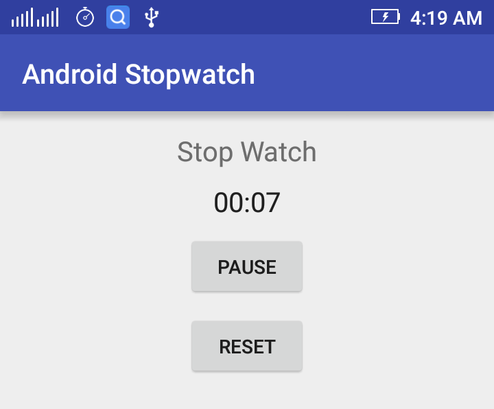 Android Stopwatch Example Using Chronometer