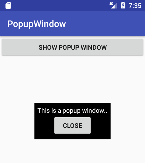 Android PopupWindow Example